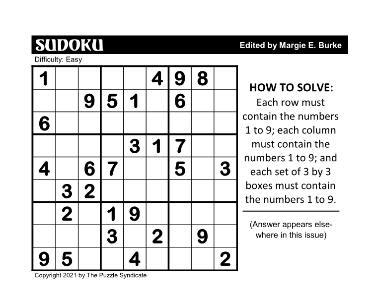 FUNDAY! WEEKLY SUDOKU 3-29-21