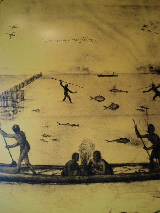Photo of an illustration of how Native Americans fished the river from the Museum