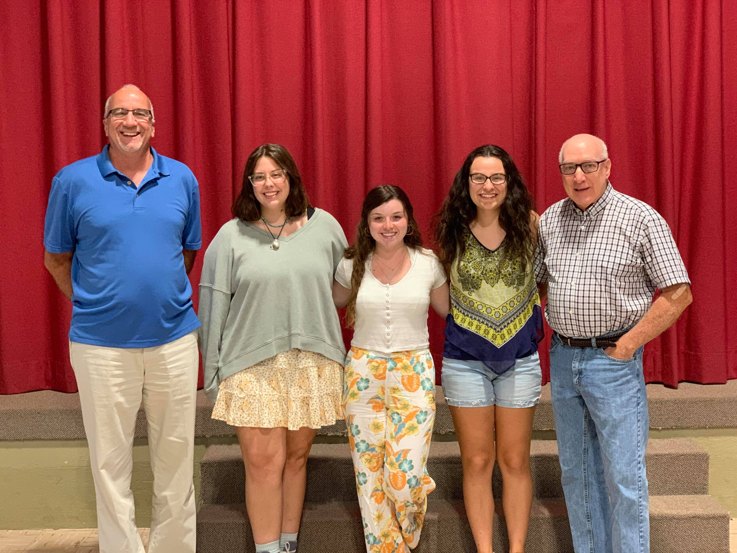 Photo: from left to right: Terry Smallwood, Hannah Smith - attending Elizabethtown College, with a dual major in Criminal Justice and Japanese, Emily Burke - attending McDaniel College, majoring in Psychology, Brenna Fitzgerald - attending Shepherd University, majoring in Criminal Justice, and Bobby Deener.
